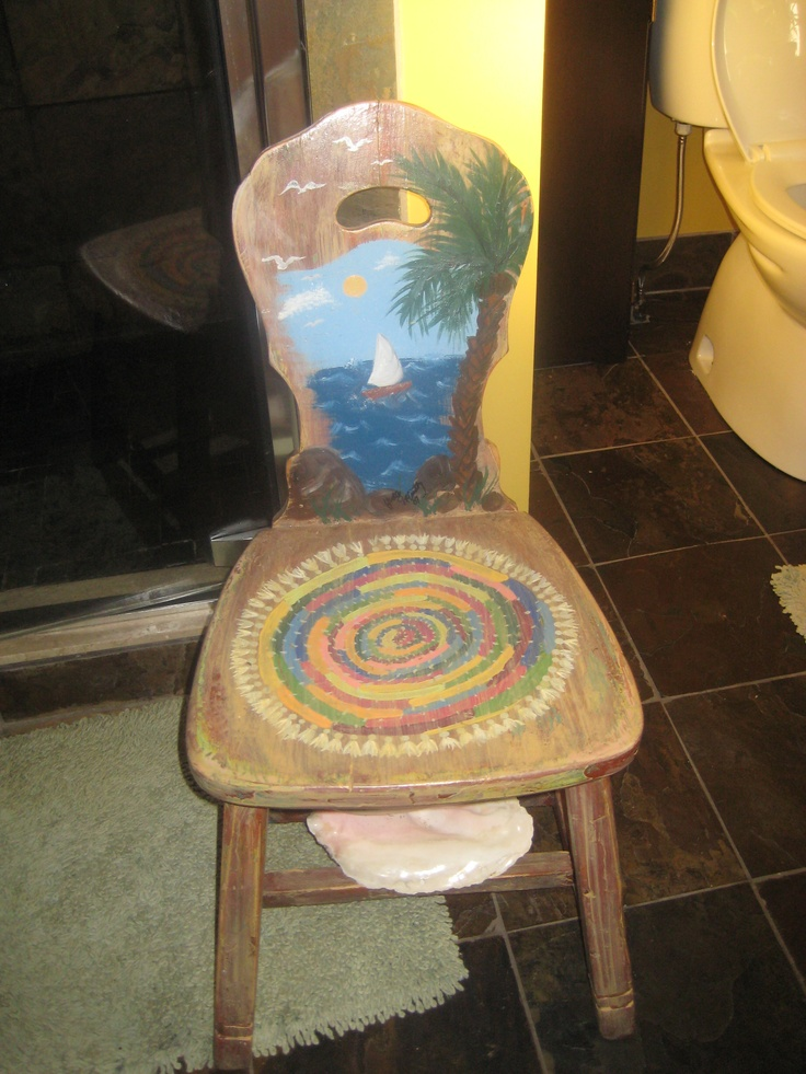 I keep this chair in my bathroom.My mom gave it to me years ago and I give it a beachy theme paint job,seat cushion too!