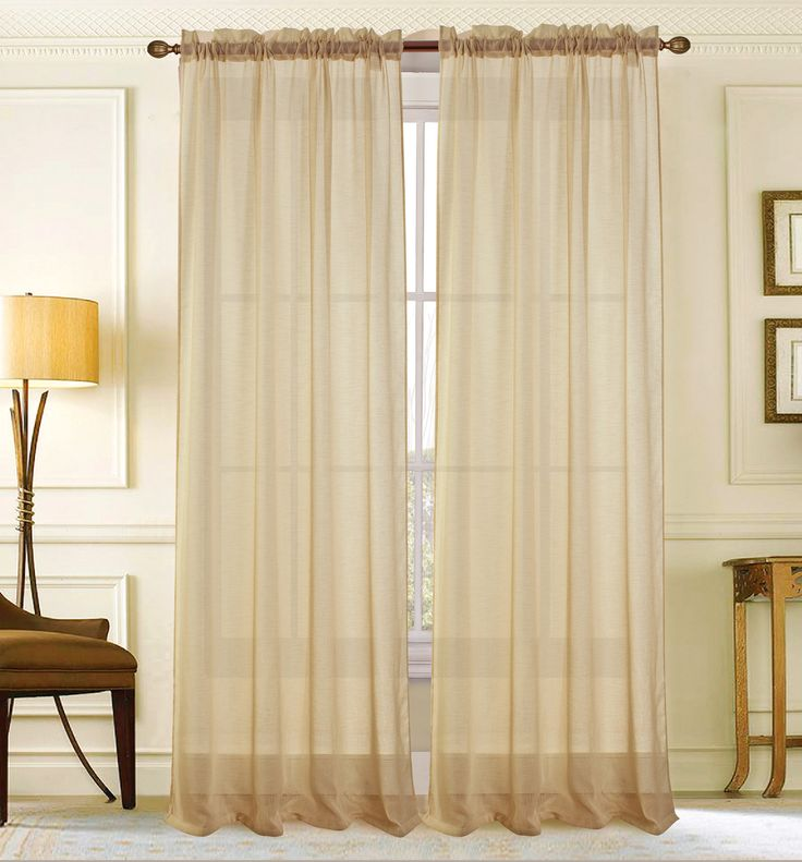 Astro Textured Solid Sheer Rod Pocket Single Curtain Panel