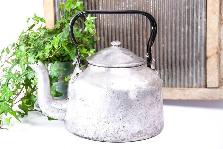Vintage kettle, rustic kitchen kettle, old metal tea kettle, aluminium kettle, rustic kettle, wood stove kettle, large kettle, silver kettle by VintageEuropeDesign on Etsy