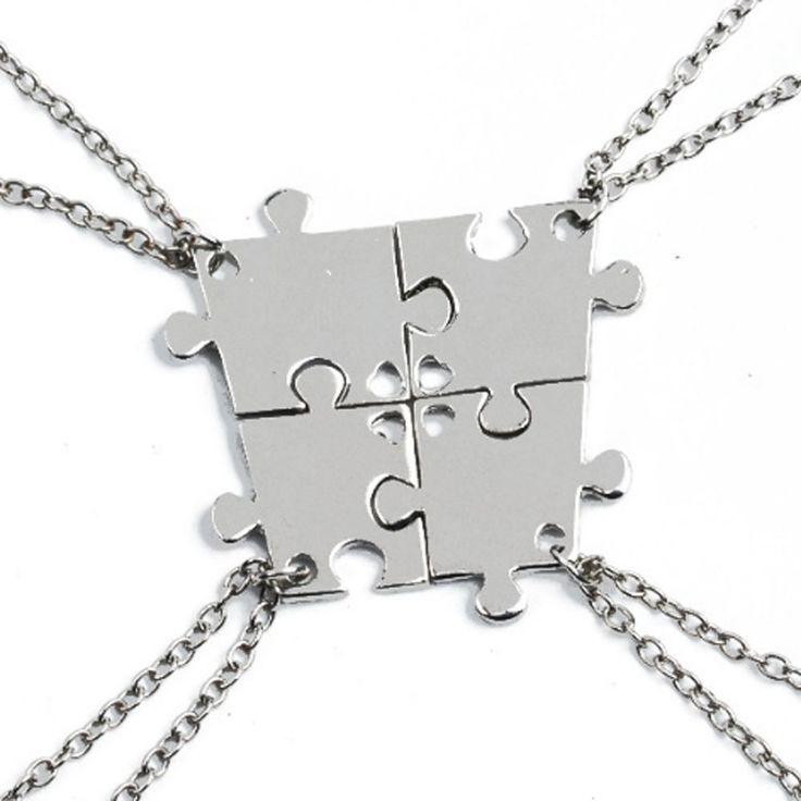 4pcs Friendship Best Friends Puzzle Piece Necklace Set Connecting Sisters BFF #Unbranded #Pendant