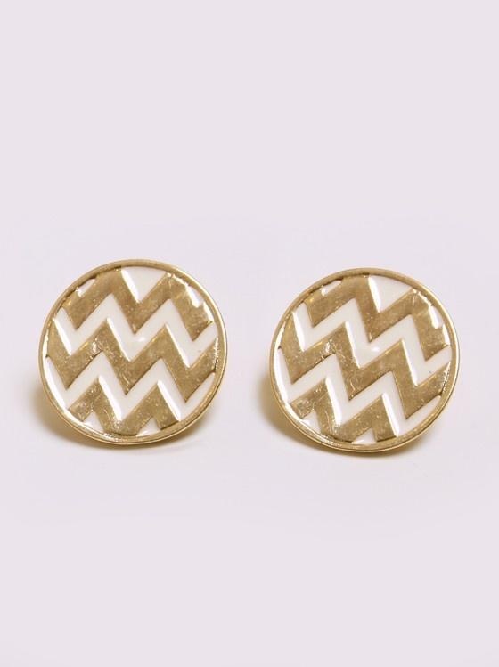 Oversized Chevron Stud Earrings in WhiteChevron Studs, Stud Earrings, Studs Ears, Oversized Chevron, Studs Earrings, Jewelry, Chevron Earrings, Accessories, Gold Earrings