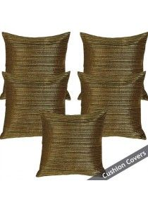 Set of 5 Cushion Cover Moss/Gold Mix