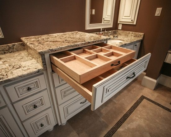 This is for makeup in a bathroom vanity but something similar would be good in the kitchen for a cutlery drawer!
