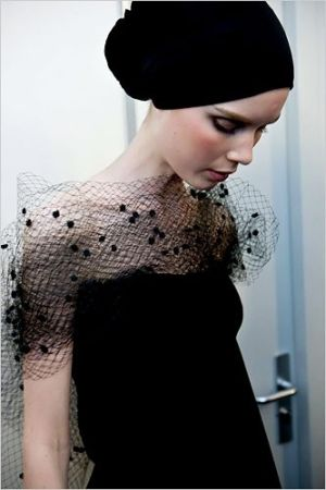 Backstage at Christian Lacroix haute couture, Fall 2009.