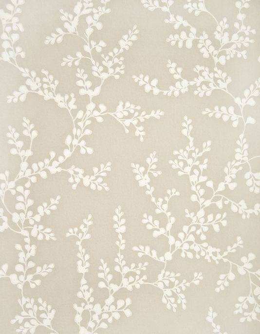 Shadow Fern Floral Wallpaper White shadow fern print on linen wallpaper.