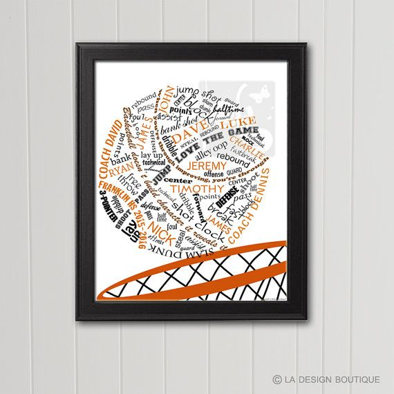 Great Gift Idea for Coach or Teammate Personalized BASKETBALL Typography Art by LaDesignBoutiqueShop