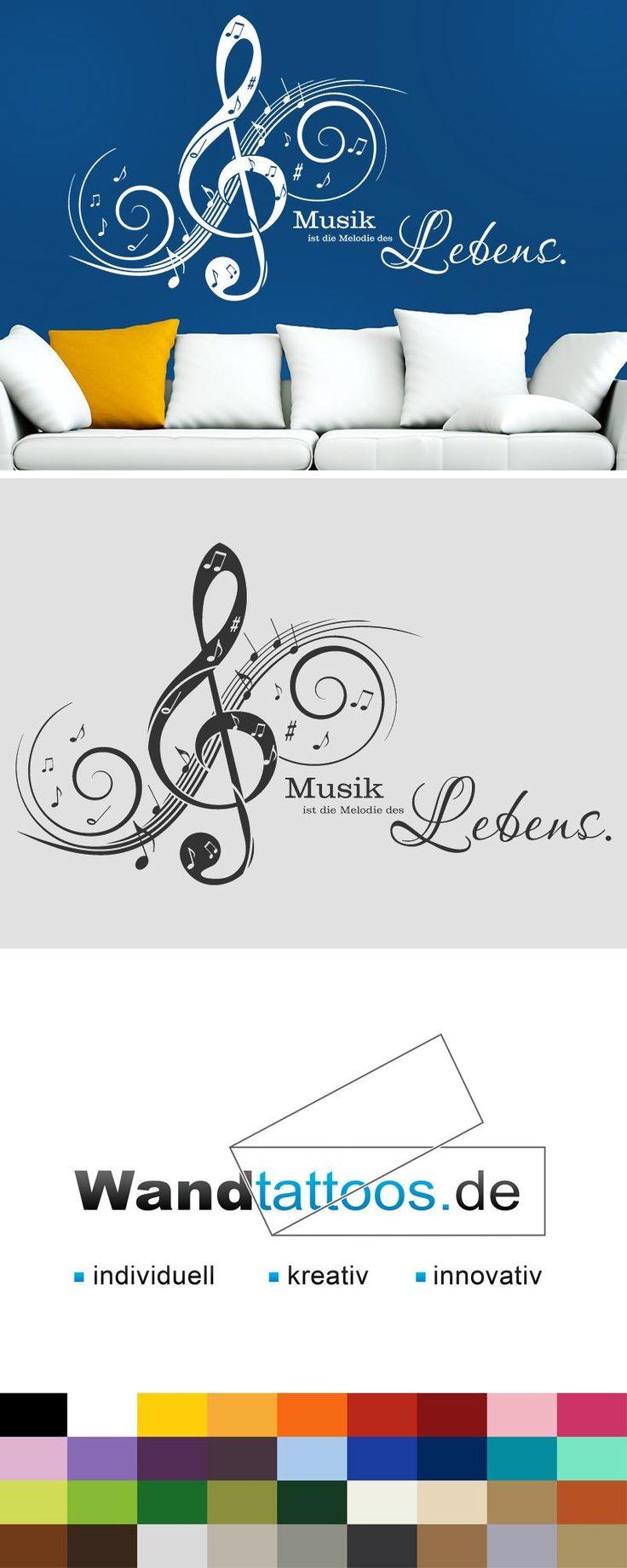 Wandtattoo Musik ist die Melodie... als Idee zur individuellen Wandgestaltung. Einfach Lieblingsfarbe und Größe auswählen. Weitere kreative Anregungen von Wandtattoos.de hier entdecken!