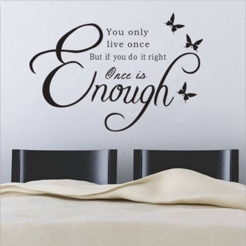 live once is enough wall stickers vinyl bathroom art decor home quote decal usa 599