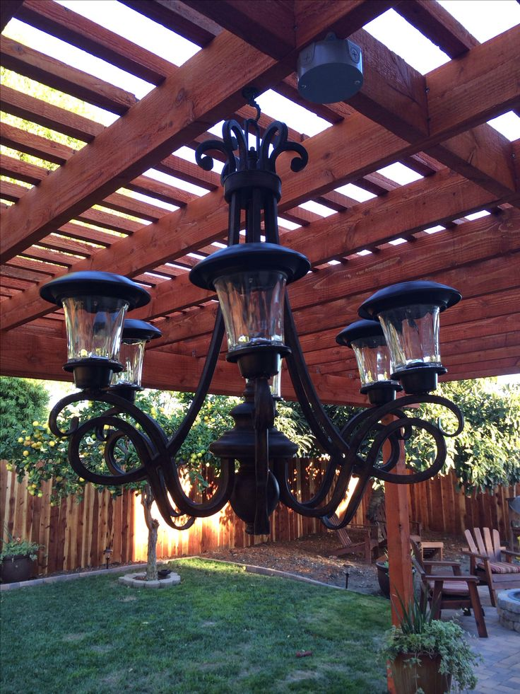 Solar light chandelier  Made by my friend Jayme!