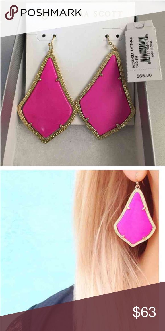 """Kendra Scott Magneta Alexandra's Alexandra Earrings In Magneta Authentic-NWT-No bag, will come in box Retails for $65 at Kendra Scott store •14K Gold Plated Over Brass •Size: 2""""L x 1.36""""W on earwire •Material: Magneta magnesite **PRICE FIRM** cheaper on Mercari Kendra Scott Jewelry Earrings"""