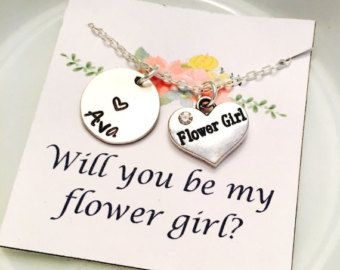 Flower Girl Necklace Flower Girl Gift by UniquelyImprint on Etsy