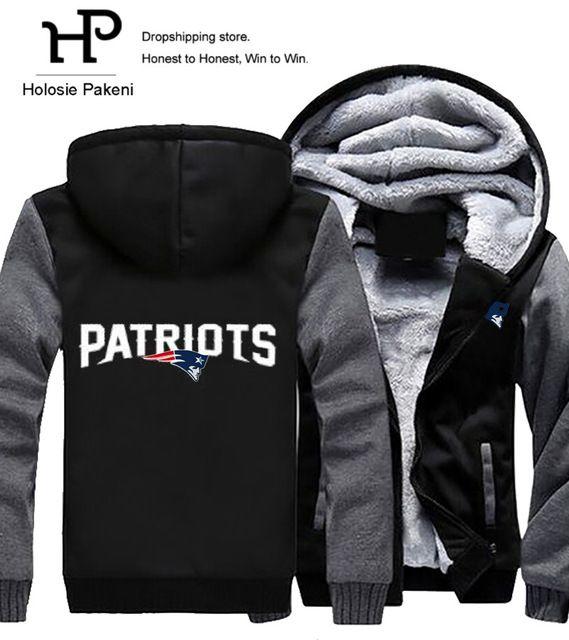 Limited Offer $30.68, Buy Dropshipping Men Women Unisex Patriots Hoodies Zipper Sweatshirts Jacket Winter Warmth Thicken Fleece Hooded Coat