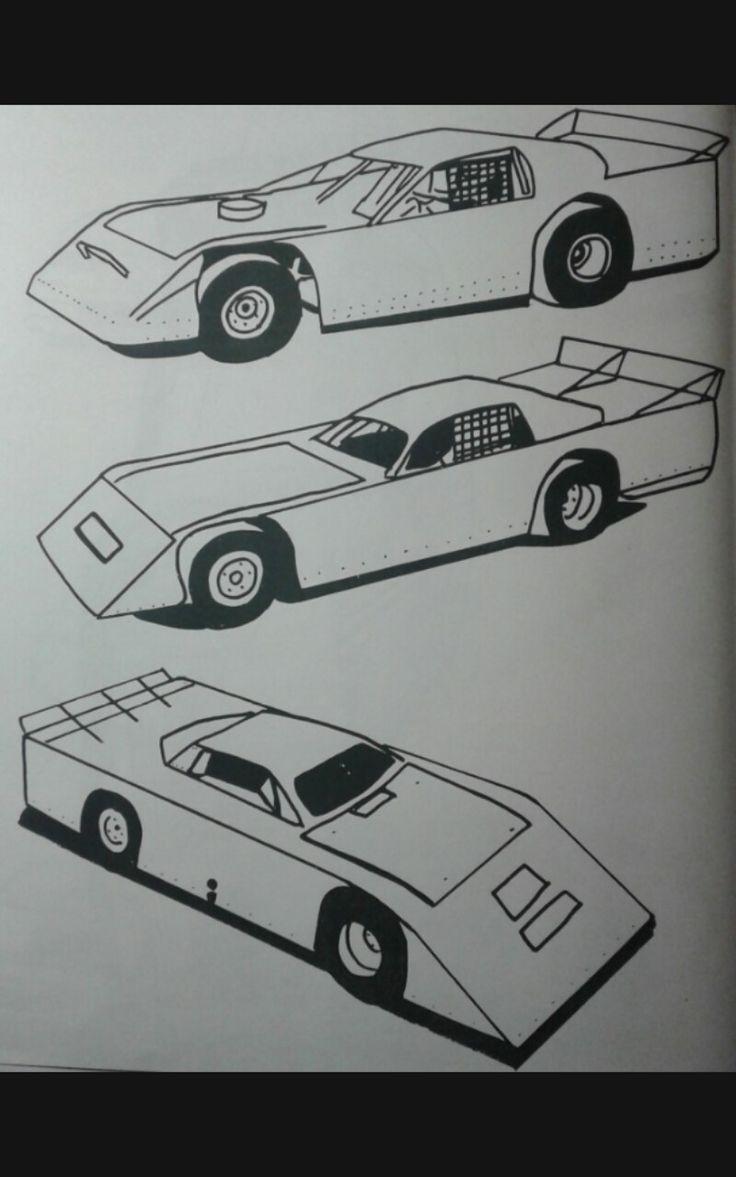 latemodel stockcar coloring print cars drawing