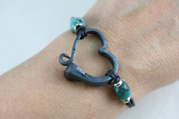 Horse shoe nail bracelet with Turquoise Hand by AlchemyArtworks