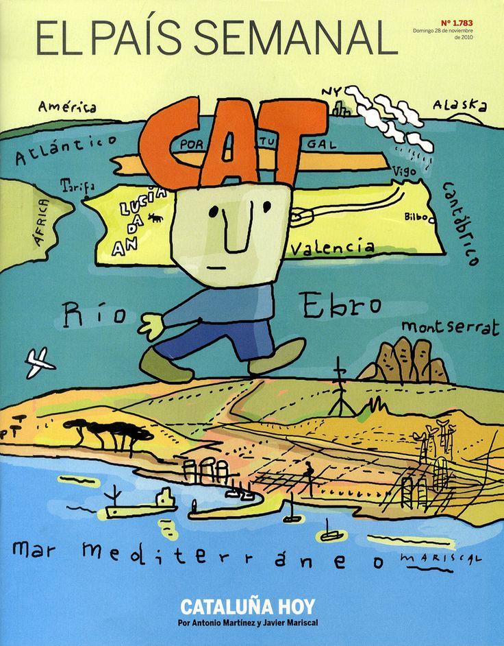 En 2010, El País Semanalhizo un homenaje catalán (dibujado por Javier Mariscal) a la portada clásica de Saul Steinberg para The New Yorker (1976).