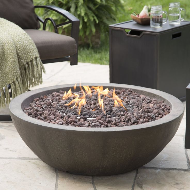 Red Ember Tucson 36 in. Gas Fire Bowl with Free Cover - Outfit your outdoor décor with the  Red Ember Tuscon 36 in. Gas Fire Pit Bowl  for an enduring addition that keeps you comfortable all...