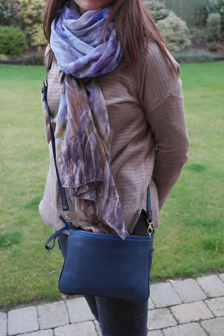 @Boden navy cross-body, H&M sweater, @M&S scarf & Uniqlo trousers