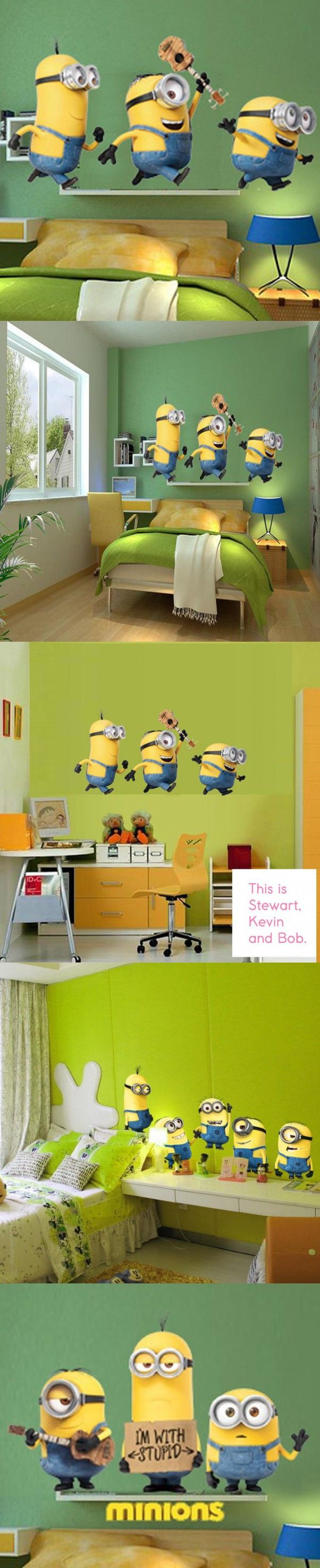 cute wall stickers home decor Removable minion wallpaper for kids room stikers for wall decoration PVC poster $36.99