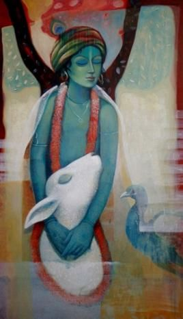 Ashis Mondal Krishna Lot no: 68002 Acrylic On Canvas Size(inches): 27X47 Shipping Condition: Rolled INR 50,000 / $902