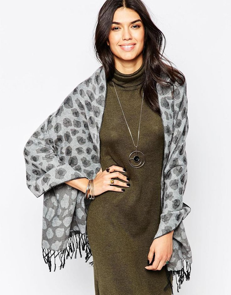 Yumi Wrap Oversized Scarf In Leopard