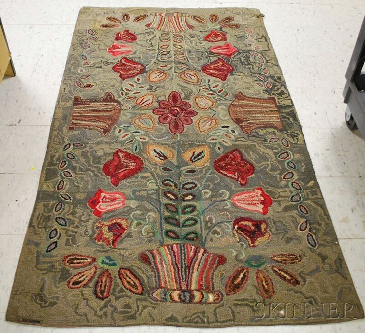 Elegant Pot Of Flowers Pattern Hooked Rug, (damage And Lo : Lot 1370