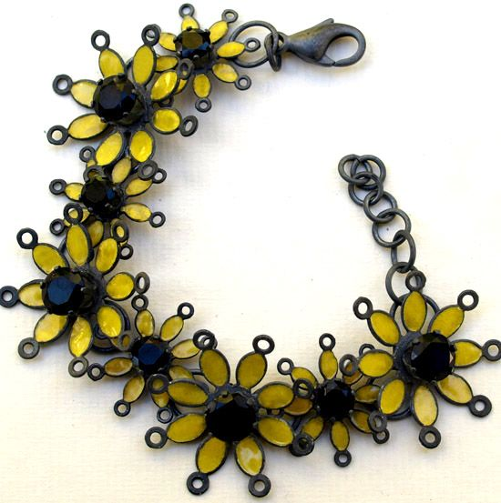 Yellow and oxidized silver and onyx lacy daisy link chain  http://barbara-macleod.com