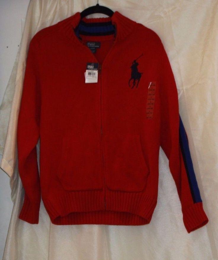 NWT Polo Ralph Lauren Kids RED Sweater Zip Jacket Size L 14-16 Large Logo #PoloRalphLauren #Pullover