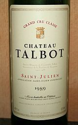 Chateau Talbot 1989, AC Saint - Julien 4e GCC, Bordeaux, Frankrijk -