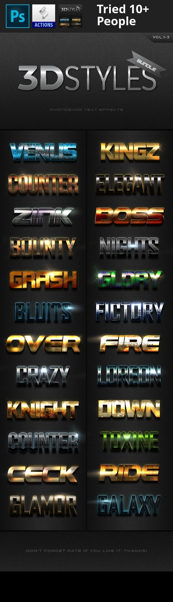 3d, 3d effects, 3d text, asl, bundle, deals, effects, flares, font, light, metal, modern, pack, photoshop, premium, professional, styles, text, texture  3D Photoshop Text Effects Bundle one                                                                With high quality and premium effects can produce the effect of a more perfect and interesting to all your texts and all style effects work only with one click.     Features      Easy to use   Work with any font   100 Scalable   Flares…