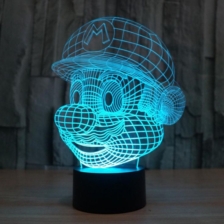 Hot ! NEW 7 color changing 3D Bulbing Light Mario Super Mary visual illusion LED lamp action figure toy Christmas gift - 10 MINUS