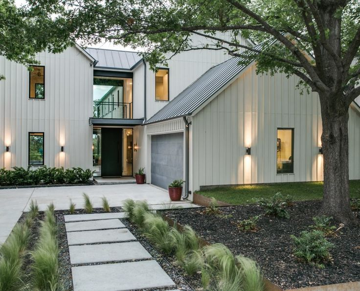 Exterior lighting and modern plantings