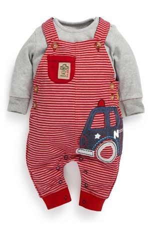 Fire Engine Jersey Dungarees Two Piece Set (0-18mths)