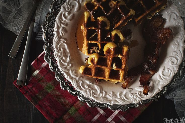 Spiked eggnog Belgian waffles with warm rum syrup | Pass the Sushi