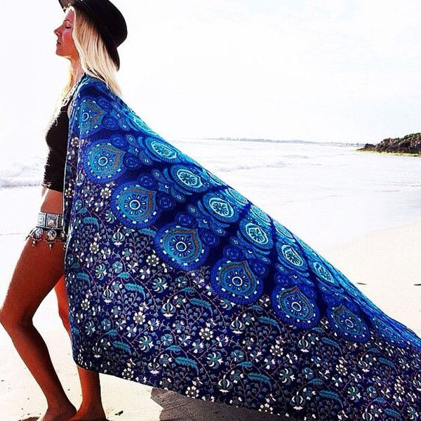 Wall Art – Bohemian Boho Blue Wall Hanging Bed Beach Tapestry – a unique product by IndianCraftPalace on DaWanda