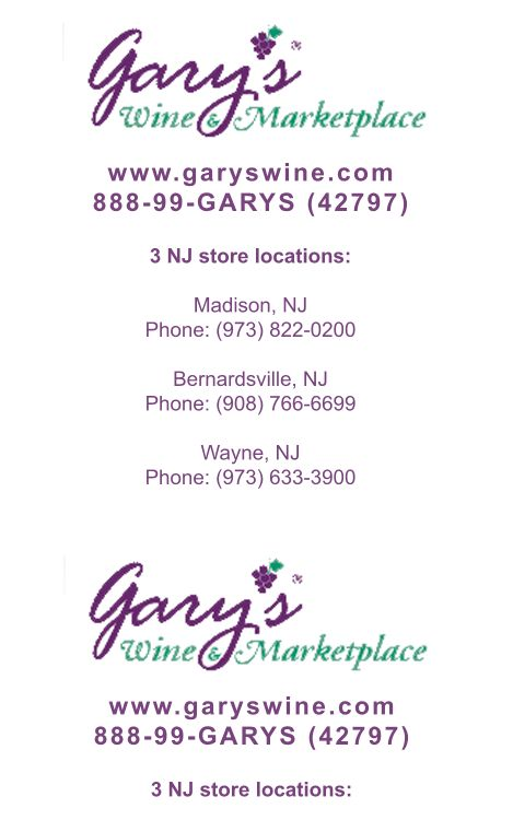 Custom Printed Receipt Paper Rolls - Gary's Wine Marketplace used a simple two-color approach to propagate their brand image, while promoting their website and promoting their multiple locations.