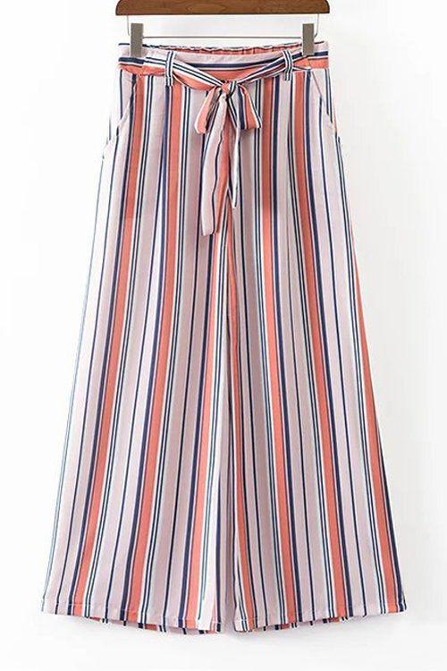 ocasional modelo de las rayas anchas Pantalón de pierna - US$21.95 -YOINS