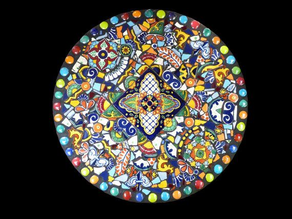 15 Inch Southwestern Mosaic Lazy Susan Kitchen Decor Made With Talavera Tiles Ready to ship $175