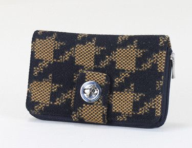 Brown & Black Houndstooth Fabric Large Wallet