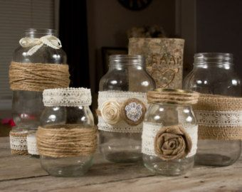 mason jar with burlap and baker twine - Google Search