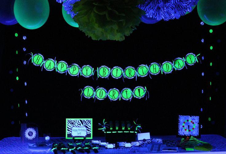 party banner glow in the dark customized happy birthday banner 32 75 via etsy birthdays