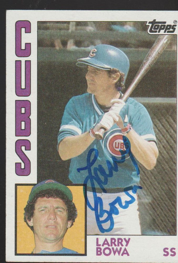 Autographed Chicago Cubs Card LARRY BOWA