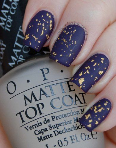 Navy blue matte finish and daubed with golden flakes