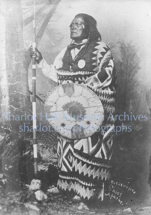 Mescalero Apache Chief; C.1880. The tribe was known as mescaleros for their complete use of mescal agave.