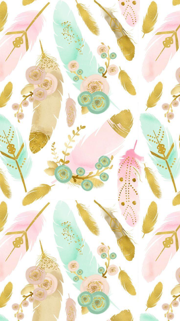 Watercolor Feathers Boho Smart Phone Wallpaper