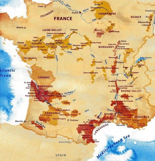 Karta Vinregioner Frankrike Munskankarna Sektion Bastad Frankrike Vinprovning Alsace