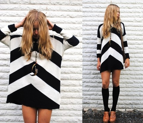 .: Minis Dresses, Style, Graphics Prints, Sweaters Dresses, Black And White, Black White, Shift Dresses, Knee High Socks, Chevron Dress