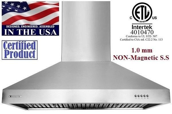 XtremeAir Non Magnetic Stainless Steel Wall Mount Range Hood UL03-W30