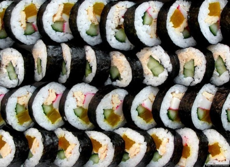 Sushi is art on a plate and a party in my mouth. Love it!