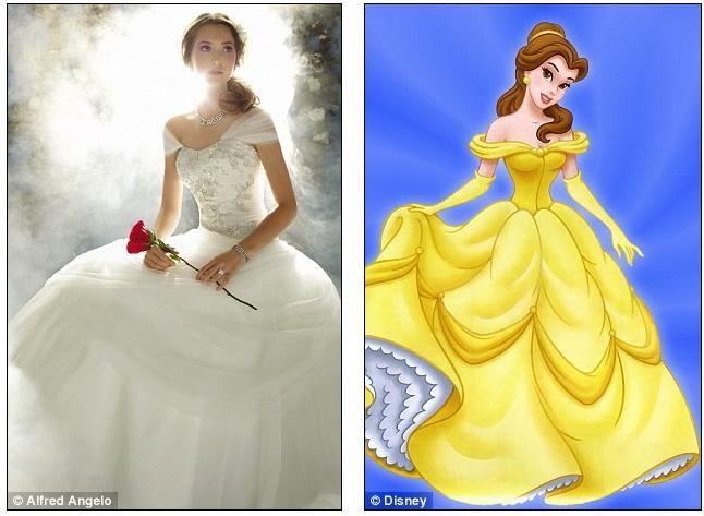 belle Disney princess inspired wedding dress