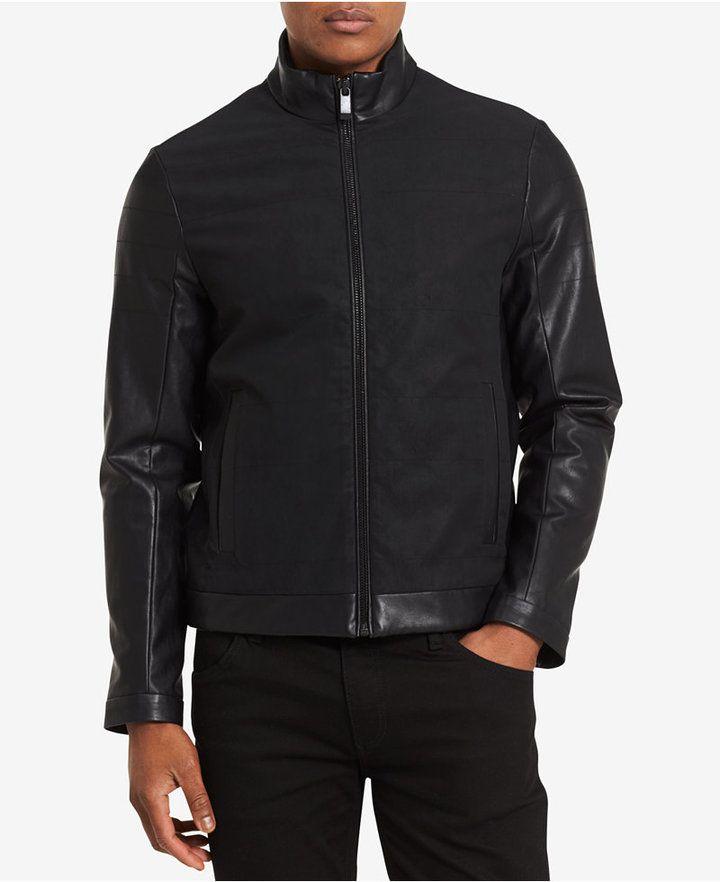 Calvin Klein Men's Modern Mixed-Media Faux Leather Jacket